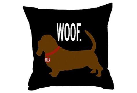 Woof Pillow by Dachshund 20x20 Pillow Black