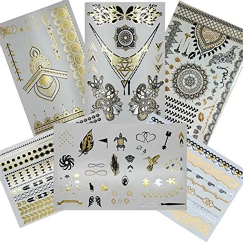 silver sheets for jewelry henna metallic flash temporary 6 sheets gold
