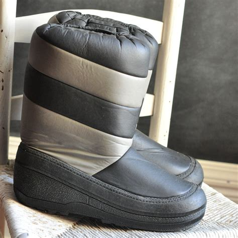 mens moon boots vintage moon boots mens 80s grey and black like new size 11 12