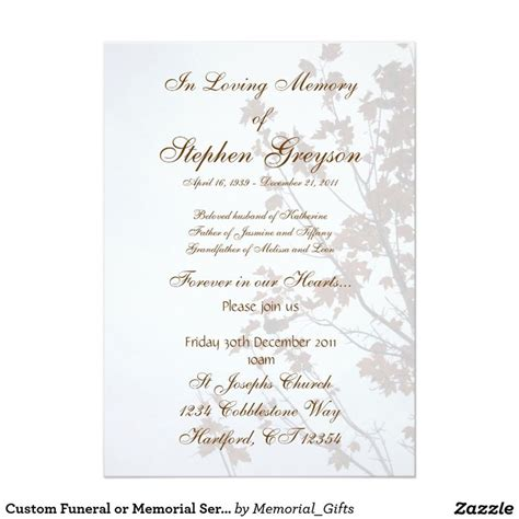 custom funeral or memorial service announcement 5 quot x 7
