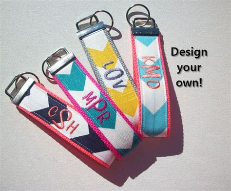 Design Your Own Wristlets At Tmstudiodesigns by Key Fob Keychain Wristlet 3 Initial Monogram On Your