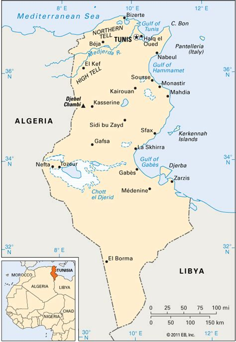where is tunisia located on a map tunisia location encyclopedia children s