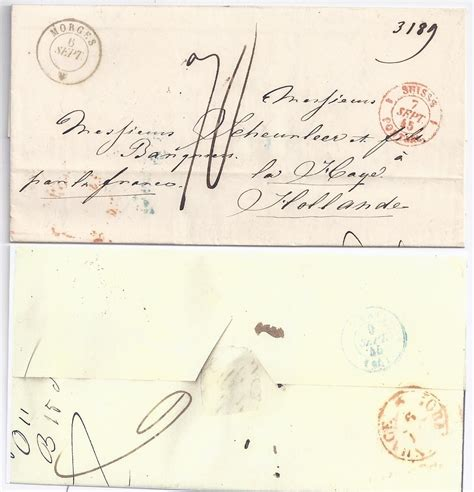 Porto Brief Schweiz Europa Schweiz Frankreich Nl 1845 Porto Brief V Morges Via N S 180 Gravenhage 1734 183 Heiner Zinoni