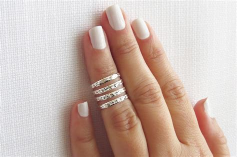 silver knuckle ring silver ring stacking rings above