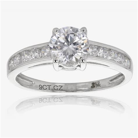 White Gold Rings by Saina 9ct White Gold Diamonflash Cubic Zirconia Solitaire Ring