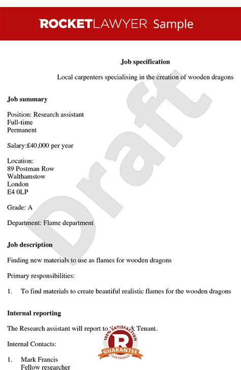 create print free job description template job spec