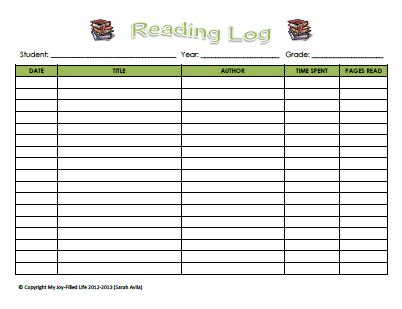 printable reading log book free reading log book report form my joy filled life