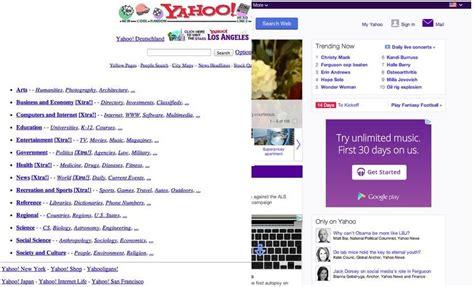yahoo new layout 2014 zehn seiten wie vor zwanzig jahren webdesign im laufe der