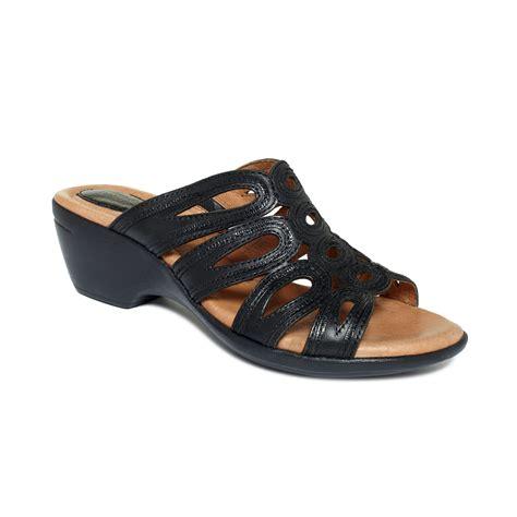 slide in sandals clarks trophy award slide sandals in black lyst