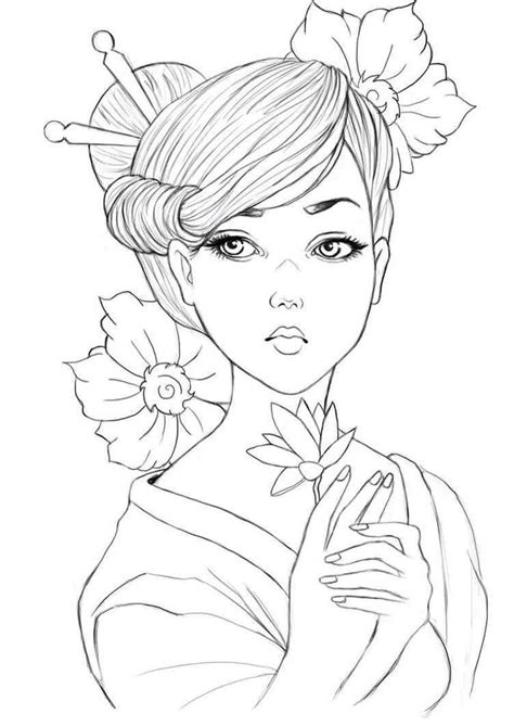 tattoo geisha sketch geisha colouring page asian coloring pages pinterest