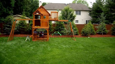 how to install swing set installing a skyfort ii swing set youtube