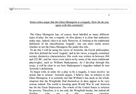 The Glass Essay Analysis by The Glass Menagerie Critical Analysis