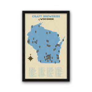 Wisconsin Brewery Map by Wisconsin Craft Breweries Map Blue 11x17 By
