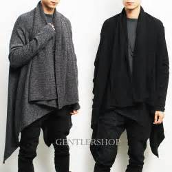 Mens Drape Cardigan Avant Garde Mens Fashion Draping Shawl Knit Long Cardigan
