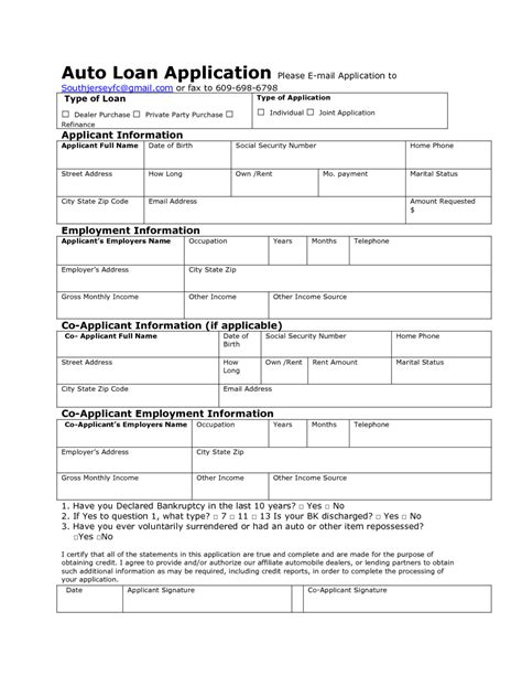 Auto Loan Application Form Sle And Template Vlashed Loan Request Template