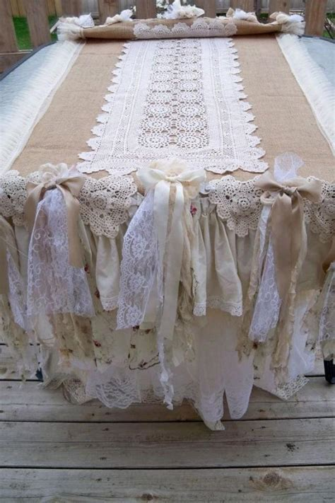 burlap ruffled hand made table runner ooak shabby chic
