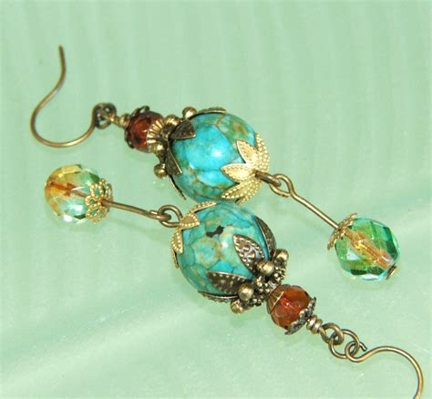 turquoise opal earrings quot opal galaxy quot turquoise mosaic earrings felt