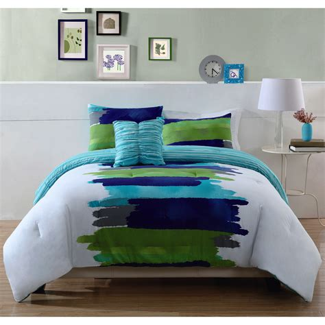 style 212 reversible comforter set in blue green