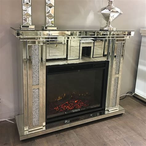 diamond glitz mirrored electric fireplace picture