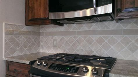 diagonal tile backsplash kitchen back splash 4 quot x 4 quot travertine diagonal layout