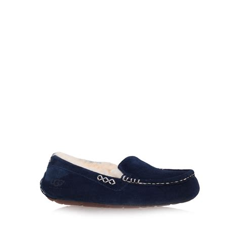 navy blue ugg slippers ugg ansley moccasin loafer slippers in blue navy lyst