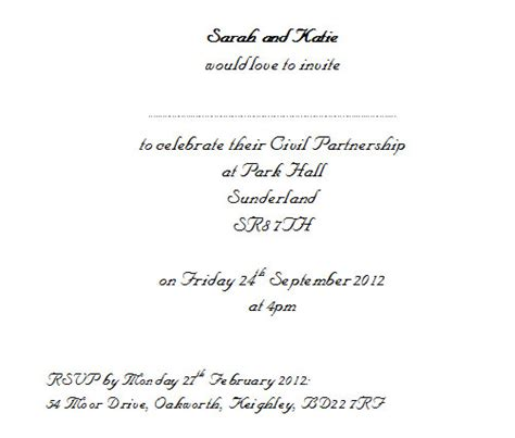 civil ceremony wedding invitation wording exles civil wedding invitation wording in matik for