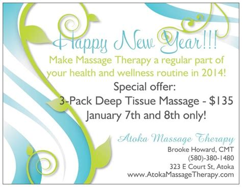 happy new year massage package special atoka massage therapy