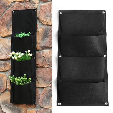black indoor planter 4 pockets black indoor outdoor hanging planter bag wall