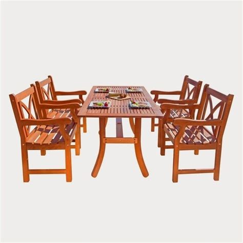 Wooden Patio Dining Sets 5 Wood Patio Dining Set V189set6