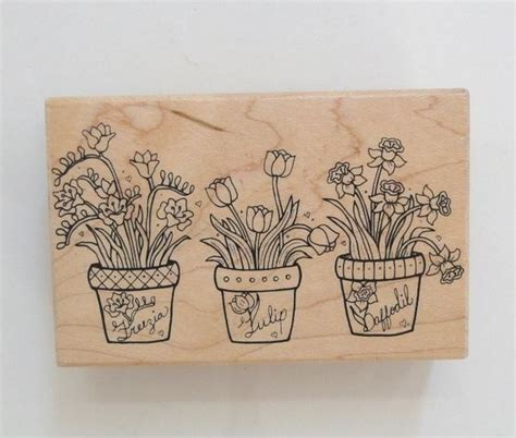 great impressions rubber sts great impressions wood mounted rubber st potted plants