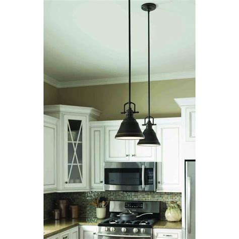 Kitchen Pendant Lighting Island Island Lights From Lowes Allen Roth 8 In W Bronze Mini Pendant Light With Metal Shade At