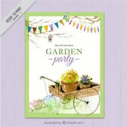 watercolor garden invitation design vector free