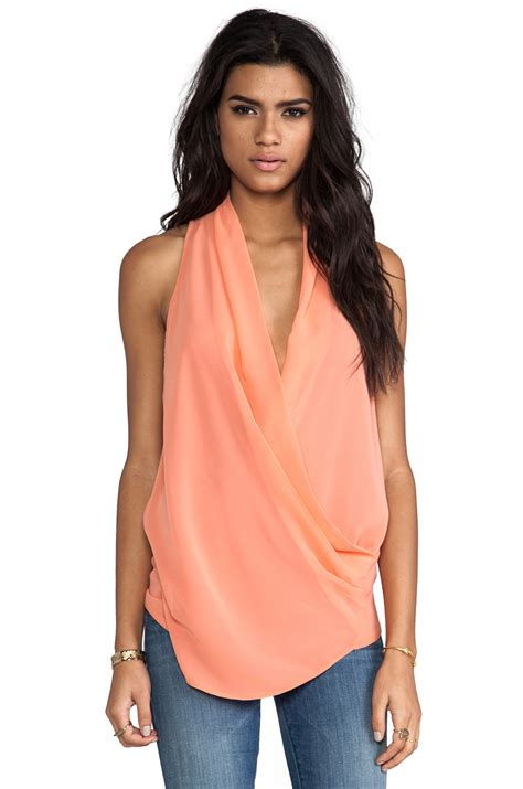 Drape Top Lurik mm couture by miss me drape front tank in coral revolve