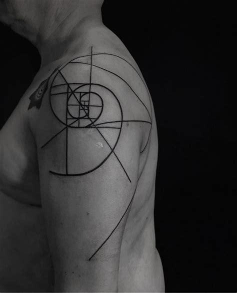 geometric tattoo fail fibonacci spiral tattoo geometric shoulder tattoo on