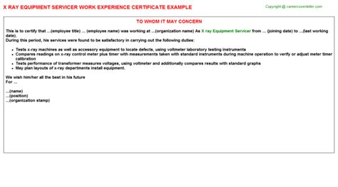Experience Letter For X Technician X Equipment Servicer Work Experience Certificate