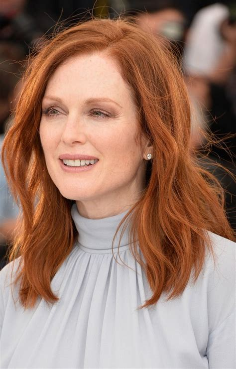 red hair for over 50 julianne moore medium red wavy hairstyle for women over 50
