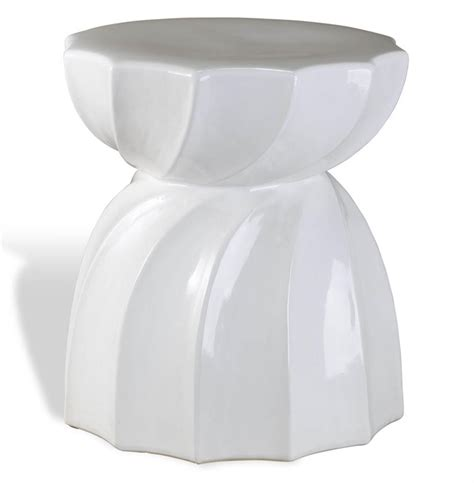 White Ceramic Table Scalloped Coastal Style White Twisted Ceramic Side Table