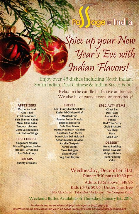 New Year S Eve Grand Buffet Passage To India Passage To India Buffet