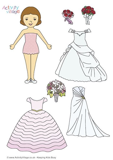 Paper Dolls With White Wedding Dresses by Paper Dolls