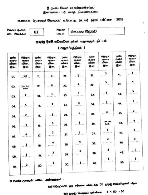 Advanced Level Chemistry MCQ 2018 Answers - MathsApi.com