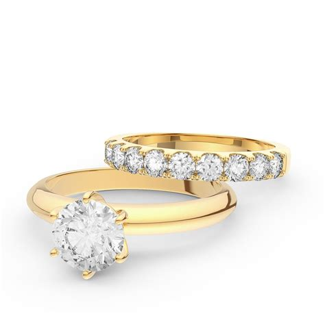 unity 1 5ct 18ct yellow gold engagement and half