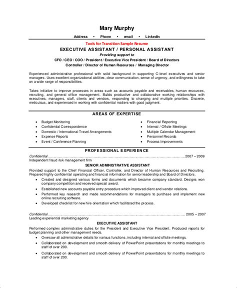 executive assistant resume exles executive assistant description resume sle