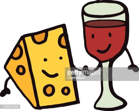 Cheese And Wine Cartoon Doodle Vector Art Getty Images