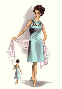 C20th fashion history image aqua keyhole a line dress c1964 1967