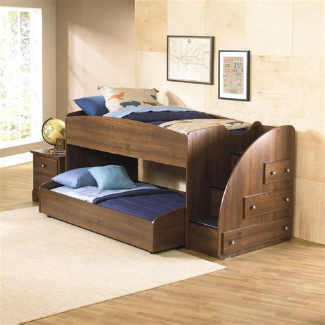 Mid Bunk Bed Mid Height Loft Bed With Trundle Right Facing Storage Stairs By Standard Furniture