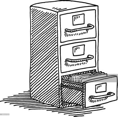 Schrank Skizze filing cabinet drawing vector getty images