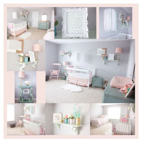 Pink Mint And Gray Baby Girl Nursery Baby Girls Light Mint Nursery Decor