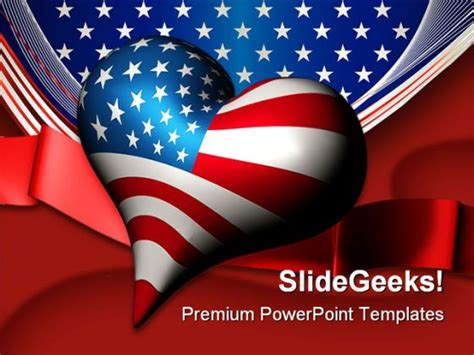 Patriotic Love Heart Americana Powerpoint Template 1010 Patriotic Powerpoint