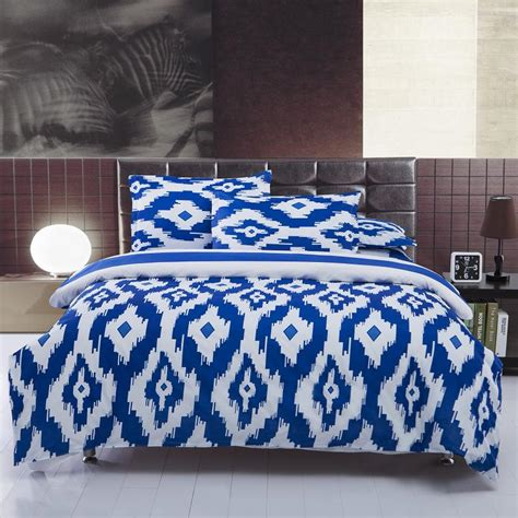 Blue And White Bed Sets New Blue And White Bedding Sets Size Bedspread 4pcs Bed Linen Bed Sheets Duvet