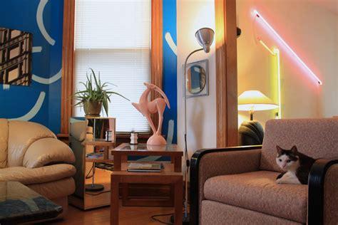 80s living room a memphis meets deco home tour mirror80